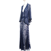 RESERVED FOR COLLEEN Vintage 1930s Art Deco Evening Gown Cobalt Blue Lace & Over Jacket Silk Chiffon