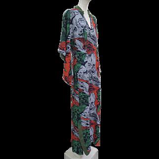 1940s Silk Rayon KAMEHAMEHA Label Hawaiian Long Dress Long Sleeves Fabulous Print