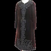 Vintage 1970s Designer Oscar De La Renta Evening Coat Dress Embroidered and Beaded