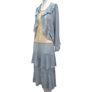 Vtg 1920s Art Deco Silk & Lace Ruffled Flapper Dress & Matching Jacket