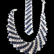 Vintage Demi Parure Signed TRIFARI Blue & Clear Sparkling Austrian Crystal Rhinestones Necklace Bracelet