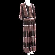 1930s Vintage French Pane Silk Velvet Long Dress Rare Patterned & Colored