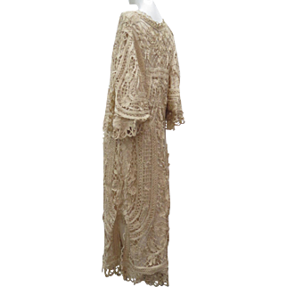 Exquisite Antique Late Victorian Ca 1900 Silk Battenburg Tape Lace Lady's Special Occassion Long Coat