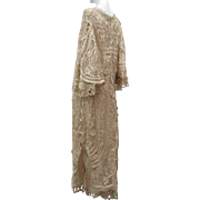 Exquisite Antique Late Victorian Ca 1900 Silk Battenburg Tape Lace Lady's Special Occasion Long Coat