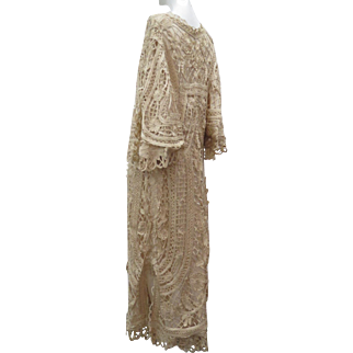 Exquisite Antique Late Victorian Ca 1900 Silk Battenburg Tape Lace Lady's Special Occasion Long Coat