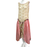 RESERVED  1920s Art Deco Lace & Silk Flapper Dress With Silk Ribbon Flowers Full Over Skirt