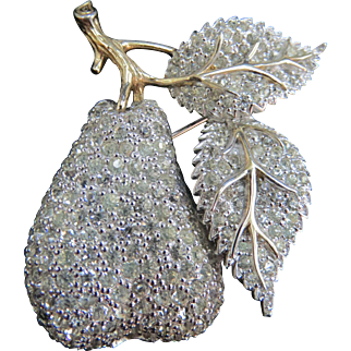 Vintage 1960s JOMAZ Rhinestone Brooch Pear Branches & Leaves Gorgeous!