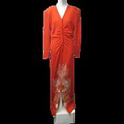 1980s Designer GIBSON BAYH Silk Long Dress Japanese Influence GUMPS