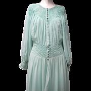 Elegant 1930s Art Deco Aqua Silk Chiffon Peignoir Negligee Set Dense Smocking
