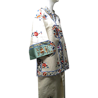 Art Deco 1930s Pure Silk Chinese Embroidered Lounging Set Jacket & Pants New Old Stock Mint