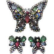 Vintage 1950s WEISS Butterfly Brooch & Butterfly Shaped Earrings Set Pastel Colored Rhinestones