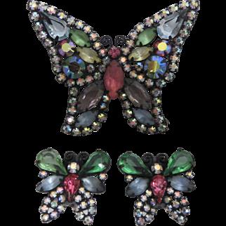 Vintage 1950s WEISS Butterfly Brooch & Butterfly Shaped Earrings Set Pastel Colored Rhinestones