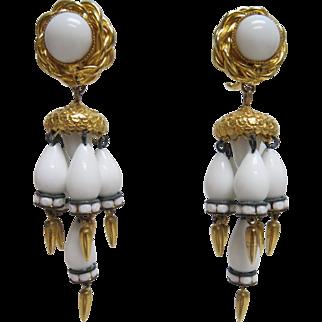 Vintage 1970s William De Lillo Designer Chandelier Earrings White Glass Gold Tone Fittings & Drops Clips