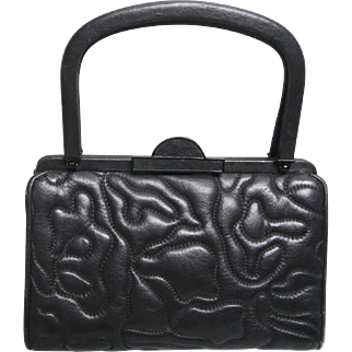 Quilted Butter Soft Black Leather Judith Leiber Mini Purse With Handle & Feet