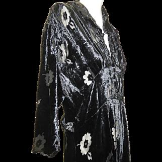 1030s Art Deco Black Cut Pane Silk Velvet Long Gown Button Front Bodice 3/4 L/Sleeves Mint