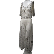 Ca 1910 Edwardian French Net Evening Gown Silver Glass Beadwork Fringes Exquisite!
