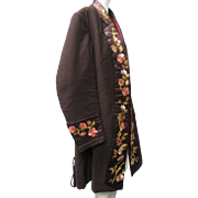 Ca 1880 Victorian Gentleman's Smoking Jacket Exquisitely Silk Stitch Embroidered