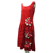 1920s Art Deco Rose Pane Silk Velvet & Silver Metallic Tiered Floral Decorated Flapper Dress