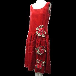 1920s Art Deco Rose Pane Silk Velvet & Silver Metallic Tiered Floral Decorated Flapper Dress