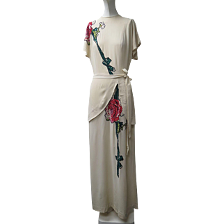 1940s Eisenberg Original Cream Colored Crepe Gown With Peplum & Sequined Flowers