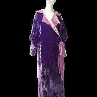 Art Deco 1920s Rare Colored French Pane Silk Velvet Evening Coat
