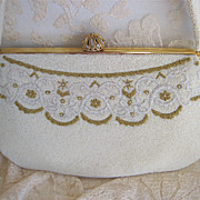 Vtg 1940s French Wedding Purse Cream Gold Seed Beads Paris