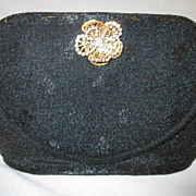 Vintage Black Cut Steel Beaded Clutch Purse Handbag