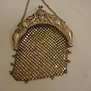 Vintage German Silver Mesh - Art Deco Style Hand Bag w Grecian Goddess Frame - EA & Co.