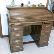Antique Oak Roll Top Lebus Kneehole Edwardian Desk C 1910