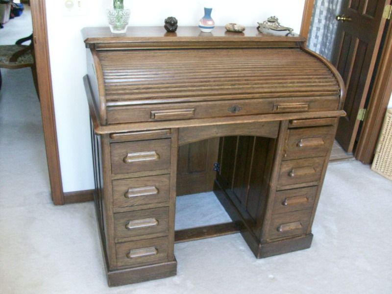 Antique Oak Roll Top Lebus Kneehole Edwardian Desk C 1910 - Antique Oak Roll Top Lebus Kneehole Edwardian Desk C 1910 From