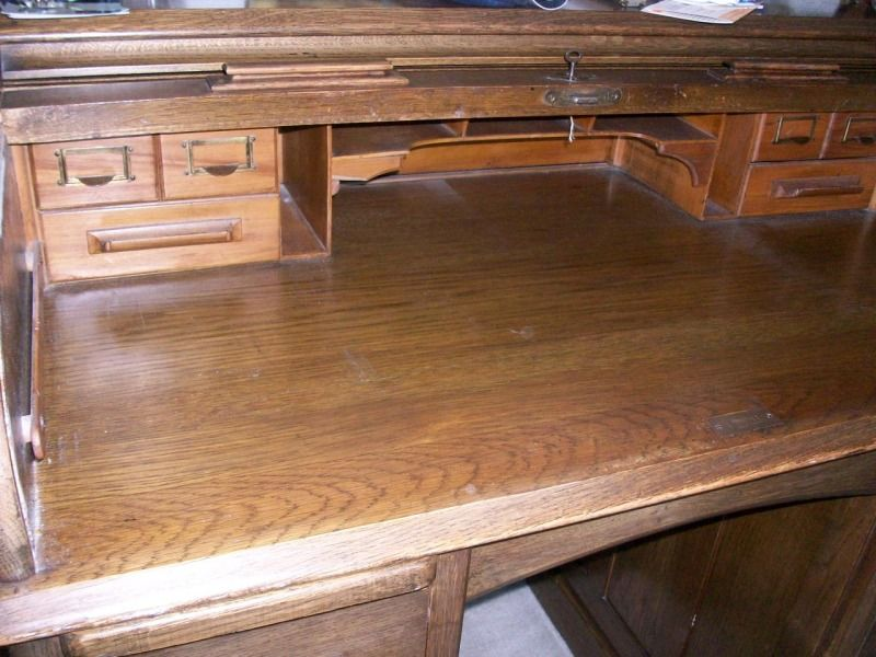 Roll over Large image to magnify, click Large image to zoom - Antique Oak Roll Top Lebus Kneehole Edwardian Desk C 1910 From