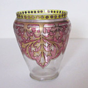 Vintage Fritz Heckert Arts & Crafts Handpainted Enameled Glass Vase Signed