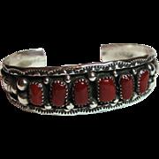 Vintage - Sterling Silver & Red Coral Navajo Cuff Bracelet - Henry Clark Signed