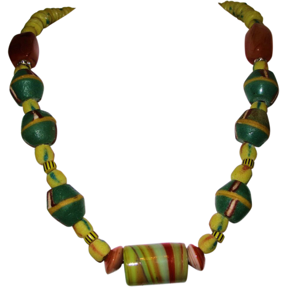 Bead Glass African Beads: Antique African Trade Bead Necklace