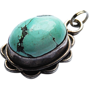 Vintage Native American Sterling and Turquoise Pendant 1 1/2 inches