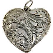 Vintage Hand Etched Sterling Heart Pendant, Smith's Incline