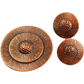 Bell Trading Post Copper Brooch & Earring Set Signed