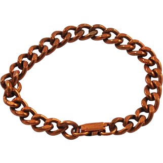 Vintage Unisex Solid Copper Curb Bracelet Heavy & Chunky