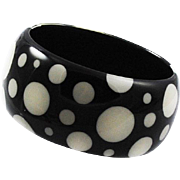 Chunky Lucite Black Polka Dot Bangle Bracelet 1960's