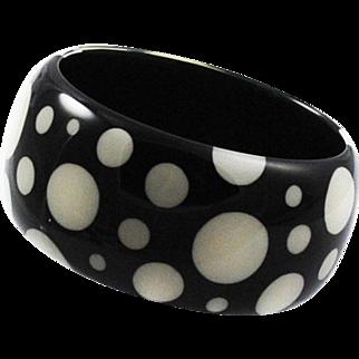 Chunky Lucite Black Polka Dot Bangle Bracelet 1960's