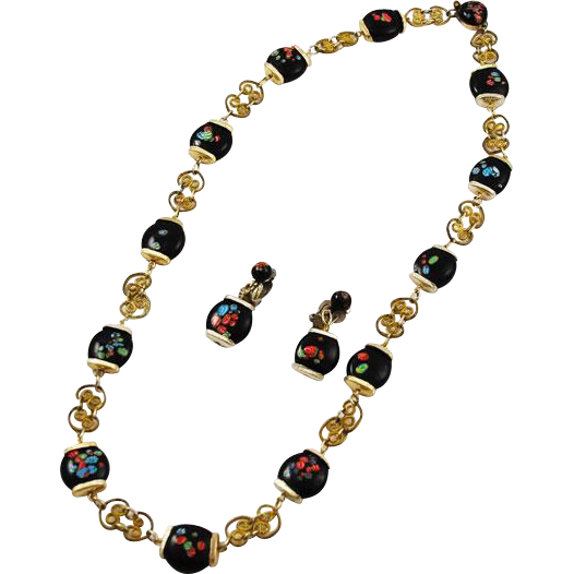 vintage japanese filigree millefiori beaded necklace and