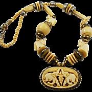 Vintage Carved Bone BOHO Necklace Ethnic