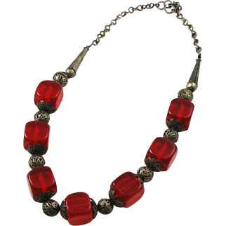 Afghan Silver and Bakelite Tribal Necklace Ethnic