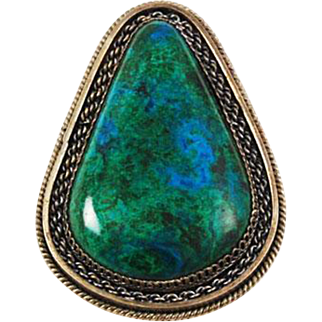 Large Sterling & Chrysocolla Brooch - Pendant Pear Shaped