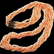 Multi-Strand Angel Skin Necklace Gold Vermeil Clasp Vintage