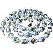 Vintage Chinese Cloisonne Necklace 32 inches - White 15mm x 10mm Beads