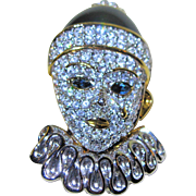 Swarovski Swan Signed - Enamel Rhinestone Clown Pin Brooch