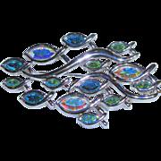 Swarovski Swan Signed - Large Crystal Fish Design - Pin Brooch - Silver Tone