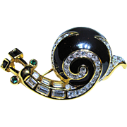 Swarovski Swan Signed - Snail Crystal Enamel Pin Brooch - Vintage & Detailed