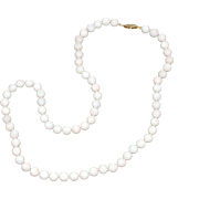 """White Coral Rounds Necklace 6-7mm 14Kt Gold Clasp 19"""""""